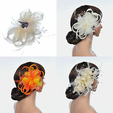 3 Styles Flower Hairpin Clip Party Prom Hair Flower Comb with Feather and Ribbon