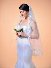 1T White/Ivory Fingertip Length Lace Edge Bridal Wedding Veil With Comb 130129