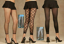 PLUS SIZE BLACK LEGGINGS/ FOOTLESS TIGHTS LACE~FENCE NET or LACE TRIM XL 16-22