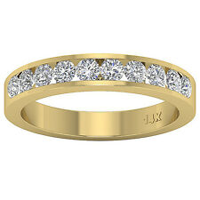 Anniversary Ring Wedding Band 0.80 Ct Round Diamond 14Kt Yellow Gold Channel Set