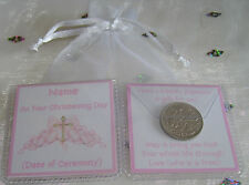 PERSONALISED CHRISTENING NAMING BAPTISM DAY LUCKY SIXPENCE GIRL 10 DESIGNS