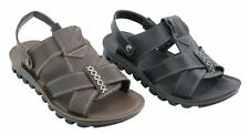 Mens Real Leather Black Brown Sandals Strap Summer Holiday Beach Slippers Shoes