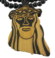 "WOODEN JAY Z JESUS PENDANT PIECE w/ 36"" CHAIN NECKLACE GOOD WOOD HIP HOP STYLE"