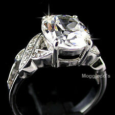 Ladies 5.05ctw 'HUGS n KISSES' AAA cz 14K WHITE GOLD EP | RHODIUM EP Ring | NEW