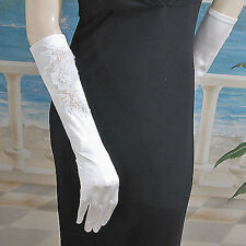 Long Satin Gloves With Appliqued Flowers (G258)