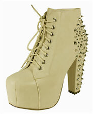 Amos! Spike Studded On Back Lace-Up Platform Ankle Bootie Thick Heels Beige