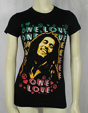 Authentic BOB MARLEY Photo One Love Peace Sign Girl Juniors T-Shirt S M L XL NEW