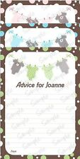 BABY SHOWER ADVICE CARDS x12 - Choice of Green, Pink, Blue - Jumpsuit
