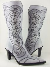 Oh! Michelle Women's White Leather Cowboy Boots Heels 55% Off! Size 6 7 9 10