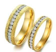 His and Her Gold Pearl Sand Full Zircon Titanium Stainless Steel Couple Ring