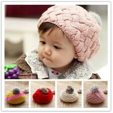 Fashion Cute Baby Kids Girls Toddler Winter Warm Knitted Crochet Beanie Hat Cap