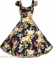PRETTY 40s 50s NAVY FLORAL VINTAGE ROCKABILLY TEA SWING PROM PARTY DRESS 8-20