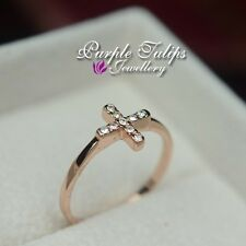 18CT Rose Gold Plated Fashion Cross Ring W/ Swarovski Crystals