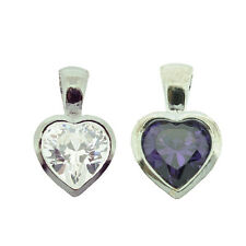 925 Sterling Silver Clear or Purple Heart Pendant Necklace With Optional Chain