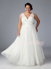 V-Neck Custom Color White Ivory Wedding Dresses Chiffon Bridal Gown Plus Size