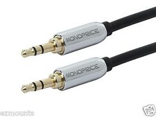Droid Raxr HD - 3.5mm Male to Male Auxillary Stereo Cable Cord -Gold Plated -BLK