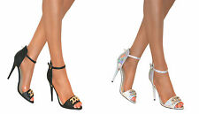 LADIES PEEP TOE STILETTO MID HIGH HEELS SHOE STRAPPY BUCKLE ANKLE SANDAL SIZE