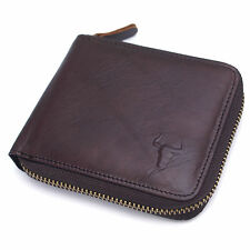 New Mens Vintage Brown Leather Zip Around Bifold Zipper Billfold PURSE WALLETS
