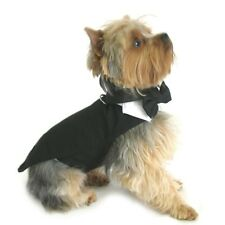 Doggie Design Black Tie Dog Tuxedo Tails + Bow Tie, Collar & Top Hat — Pick Size