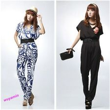 2013 New Lady Short Sleeve V-neck Jumpsuit Pants Shirts Playsuit With Waistband
