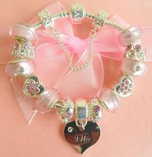Charm Bracelet for Girls Pink Name Luxury Sparkling Gift Boxed Names A-E