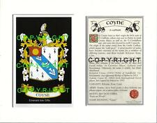 COYNE Family Coat of Arms Crest + History - Available Mounted or Framed
