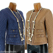 Women's CHARLESELIE94 SABINE Padded Jacket Leather Vest Size US 4 - 10