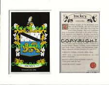 HICKEY Family Coat of Arms Crest + History - Available Mounted or Framed