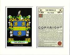 NICHOLLS Family Coat of Arms Crest + History - Available Mounted or Framed