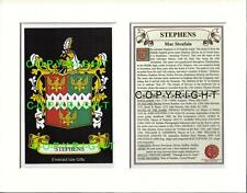 STEPHENS Family Coat of Arms Crest + History - Available Mounted or Framed