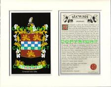 STEWART Family Coat of Arms Crest + History - Available Mounted or Framed
