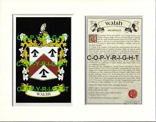 WALSH Family Coat of Arms Crest + History - Available Mounted or Framed