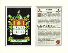 WATTS Family Coat of Arms Crest + History - Available Mounted or Framed
