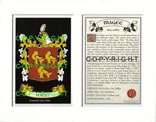 MAGEE Family Coat of Arms Crest + History - Available Mounted or Framed