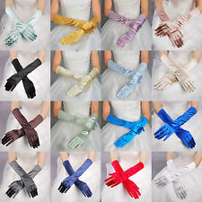 Fingered Satin Elbow Length Bridal Wedding Gloves for Party Prom Evening COLORS