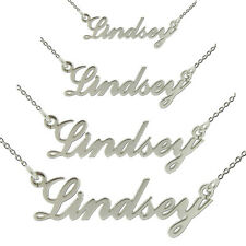 STERLING SILVER CARRIE STYLE ANY NAME NECKLACE MINI SMALL MEDIUM LARGE & CHAIN