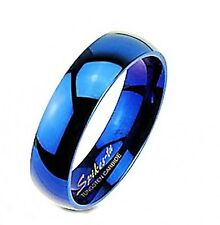 Blue IP Tungsten Carbide Mirror Polished Comfort Fit Band
