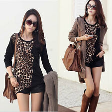 Women's Leopard Stretch Long Sleeve Casual Slim Tops T Shirts Loose Blouse