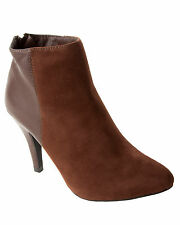WOMENS BROWN FAUX SUEDE HIGH HEEL ANKLE BOOTS ZIP SHOES BOOTIES LADIES UK 3-8