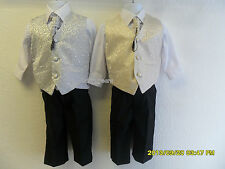 BOYS 4 PIECE PAGEBOY WEDDING OUTFIT SUIT CHAMPAGNE SILVER WAISTCOAT CRAVAT NEW