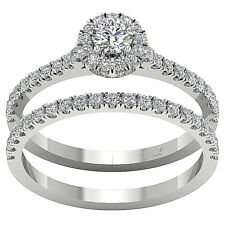 Halo Engagement Bridal Ring Band Set 1.01 Ct Real Diamond Jewelry 14K White Gold