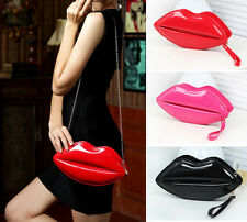 New Women's Lips Purse Handbag Evening Party Small Patent Leather Shoulder Bag