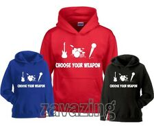 CHOOSE YOUR WEAPON MUSIC UNISEX KIDS HOODIE ROCK BAND MICROPHONE DRUMS GUITAR