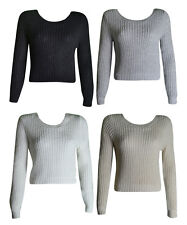 NEW WOMENS LONG SLEEVE CROCHET KNITTED LADIES CROPPED JUMPER TOP SIZE 8-14