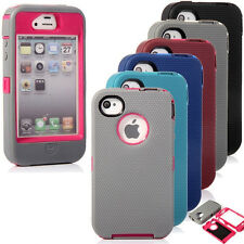 IMPACT DEFENDER HYBRID RUGGED CASE w/ BUILT IN SCREEN COVER for iPhone 4 4S 5 5S