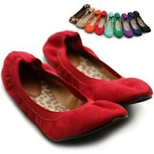 ollio Womens Ballet Flats Loafers Cute Comfort Faux-Suede Multi Colored Shoes