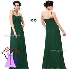 Green Spaghetti Ruffles Strap Maxi Chiffon Evening Long Bridesmaid Dress UK 8-18