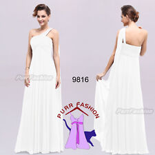 BNWT EVE One Shoulder White Maxi Prom Evening Long Bridesmaid Dress UK 6-18