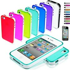 Crystal Clear TPU Glossy Rubber Gel PC Soft Case Cover For iPhone 4 4S +Pen Film