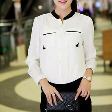 Lady New Vogue Tops Long Sleeve Chiffon Loose T-Shirt Causal Button Front Blouse